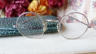 Antique Vintage Silver Rim Filigree Eyeglasses W/ Case Unique photo