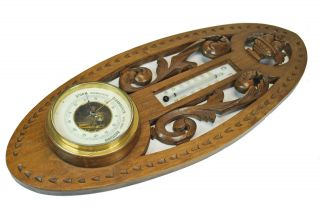 Antique Carved Barometer/ Thermometer,  Dutch. photo