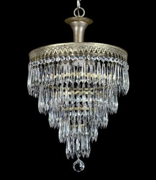 Vintage Wedding Cake Antique Chandelier Pendant Crystal Empire Art Deco Restored photo
