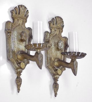 Pair Antique Sconces Vintage Cast Iron Poly Chrome Tudor English Black Restored photo