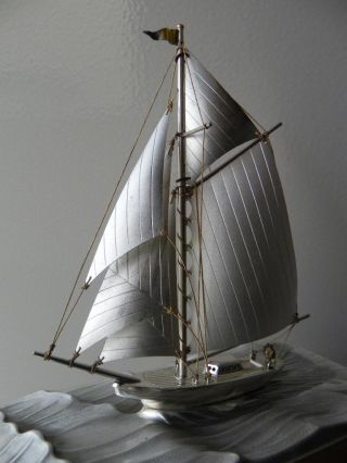 Finest Quality Antique Signed Japanese Sterling Silver Model Yacht Ship By Seki photo