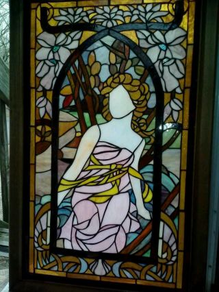 Antique Stained Glass Window Portrait Of A Woman Tiffany Style Large photo