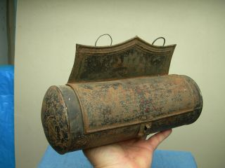 Antique Primitive Wall Mounted Tin Candle Stick Holder Case Hearth Display photo
