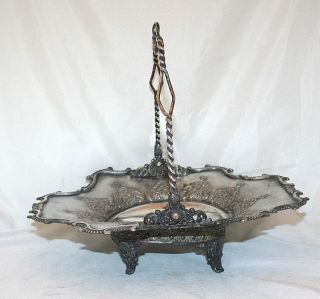 Antique Bowl Silver Plated Basket Centerpiece Woodman Cook photo