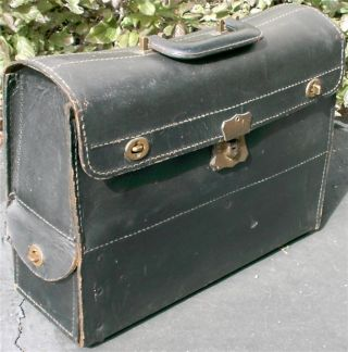 Vintage Antique Top Grain Cowhide Leather Doctors Bag Satchel Valise C H Ellis photo