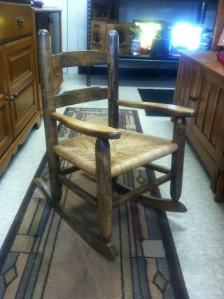 Vintage Ladder Back Youth Rocking Chair Vgc photo