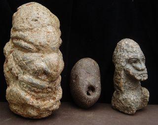 3 Old Kissi Stone Nomoli Carvings photo