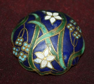 Antique Enamel And Brass Cloisonne Button,  Scalloped Blue W/flowers Early French photo