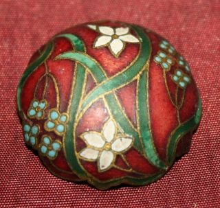 Antique Enamel And Brass Cloisonne Button,  Scalloped Red W/ Flowers Early French photo