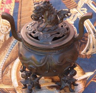 Antique Chinese Figural And Foo Dog Altar Piece Bronze Censor Incence Burner photo