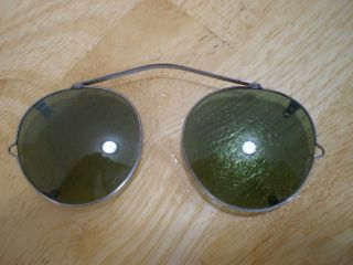 Antique Clip Over Green Glass Sunglasses Spectacles (t) photo