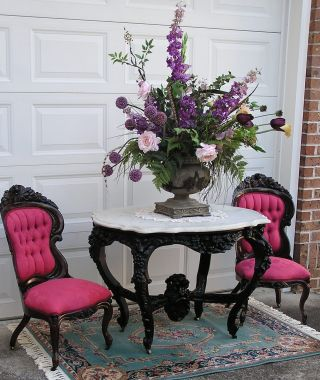 Rare Victorian Rococo Rosewood Parlor Center Table photo