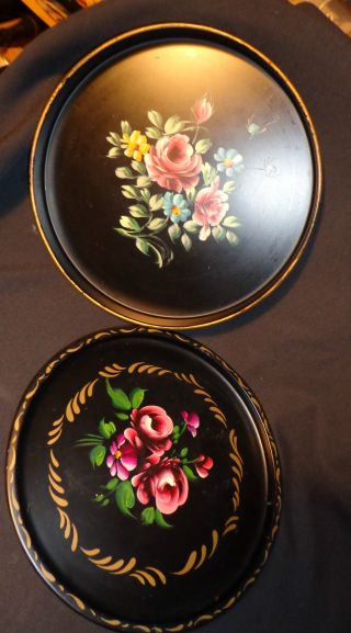 Of 2 Hand Painted Toleware Metal Trays Nashco Ny 11