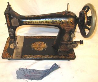 Rare Serviced Antique 1901 Singer 27 Sphinx Treadle Sewing Machine Works C - Video photo