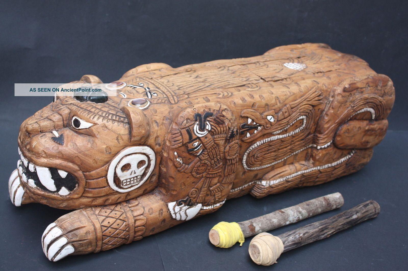 Xxl Teponaztli Drum Mexican Aztec Antique Musical Percussion Ethnic Instrument Percussion photo