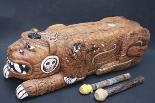 Xxl Teponaztli Drum Mexican Aztec Antique Musical Percussion Ethnic Instrument photo