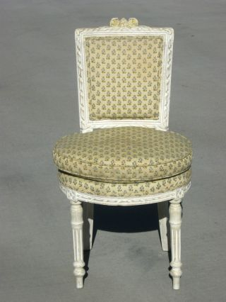 Vintage French Provincial Chic Shabby Accent Chair Sage & White Fabric Hog Hair photo