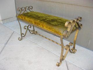 Vintage Wrought Iron Bench Lime Green Hollywood Regency Style Velvet Upholstery photo