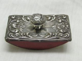 Antique Art Nouveau American Silver Ornate Ink Blotter Collectible Rare photo