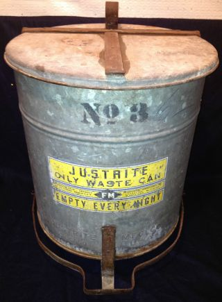 Vintage Justrite Oily Waste Can No.  3: Chicago 30s Or 40s,  Color & Graphics photo