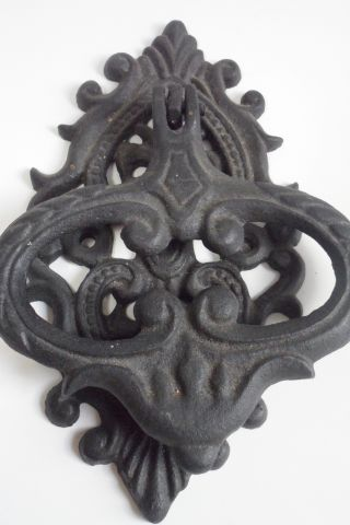 Cast Iron Door Knocker Black Reproduction Scrolled Victorian Style Screw On photo