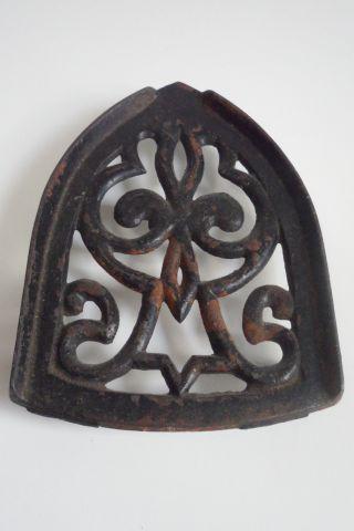 Antique Cast Iron Flatiron Rest Arch Shape Fleur - De Lis Shabby Rustic Black photo