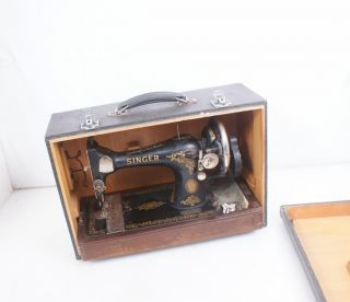 Singer Sewing Machine Bent Wood Case Carrying Case Suitcase 99 128 28 photo