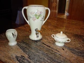 Antique Forman Bros Hand Painted Porcelain Coffee/tea Set 3 Piece Chromiumplated photo