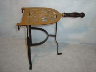 Antique Brass Trivet With Wrought Iron Frame & Wooden Handle 14