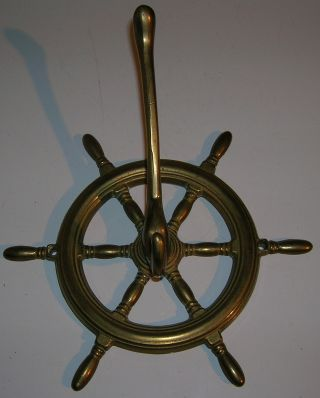 Unusual Brass Ships Wheel Nautical Maritime Design Hat & Coat Hook (1) photo
