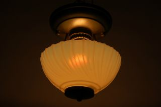 Art Deco Machine Age Light Fixture Single Opal Custard Glass Shade photo