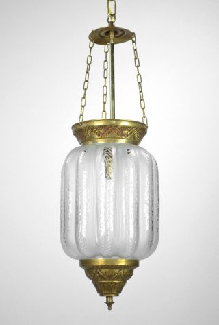 Art Deco French Pendant Chandelier Bell Jar Brass Etched Glass Restored French photo