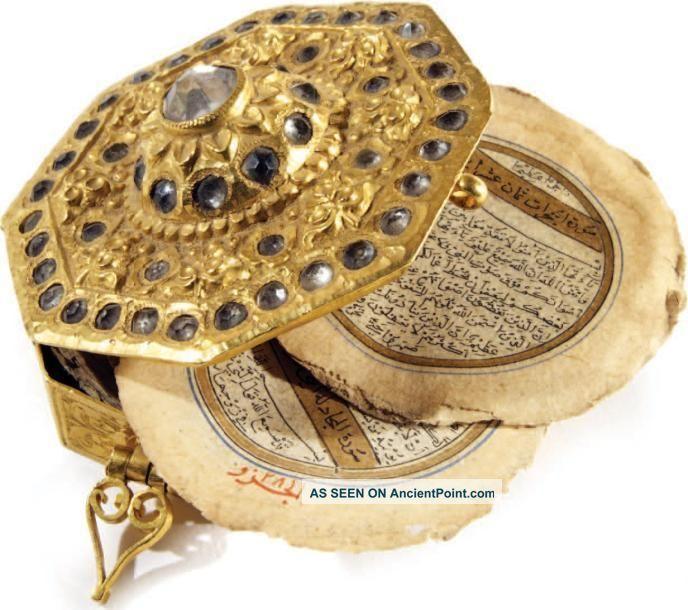 Miniature Safavid Octogonal Quran Manuscript With Qajar Era Solid Gold Box Middle Eastern photo