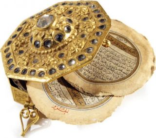 Miniature Safavid Octogonal Quran Manuscript With Qajar Era Solid Gold Box photo
