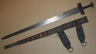 Marocco Algeria Old African Takouba Sword With Scabbard Touareg Afrika Africa photo