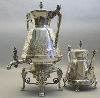 Fine Antique American Egyptian Revival Silverplate Coffee Pot & Tea Urn C.  1890 photo