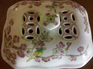 Rare 19th Century Chinese Antique Porcelain Incense / Trinket / Cricket Box photo