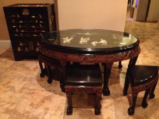 Antique Chinese Hand Carved Solid Rosewood Mother Of Pearl Table With 6 Chairs photo