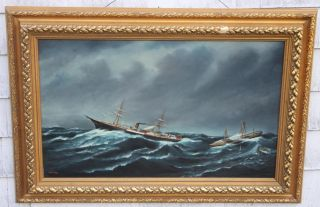 Antique 19thc S.  F.  M.  Badger Maritime Steamship Rescue At Sea O/c Oil Painting photo