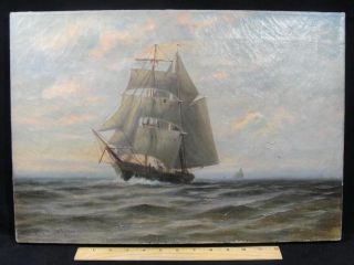 "Antique ""c.  Myron Clark"" American O/c Maritime Oil Painting Sailing Ship photo"