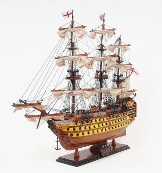 Painted Hms Victory 1744 Wooden Tall Ship Model 30