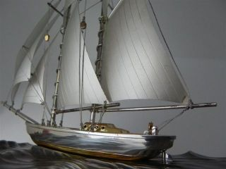 Finest Large 2 Masted Japanese Sterling Silver 985 Model Ship By Takehiko Japan photo