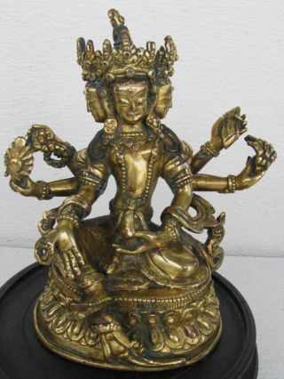 Antique Chinese Tibetan Gold Gilt Bronze 3 Head,  6 Arm Buhhda Signed : 7