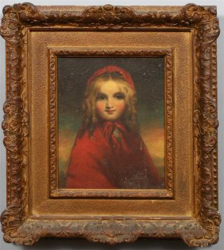 Antique American Hudson School Young Girl Sunset Portrait Folk Art Oil Painting photo
