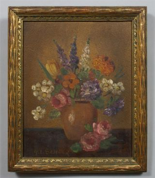 Henry Sanger Listed Antique Boston School Flower Floral Still Life Oil Painting photo
