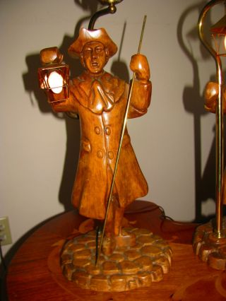 Vtg French Wooden Wood Stasack? Fisherman?figurine Table Lamps Light Fixture Old photo