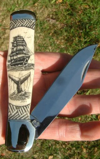 Hand - Etched Scrimshaw Art,  Ship.  Whale,  Tapa Weave,  Bone Folding Knife/knives photo