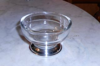 Vintage Small Glass Serving Bowl With Sterling Base Ca 1930 - 40 ' S 3 Inch Diameter photo