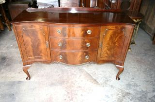 English Antique Queen Anne Flamed Mahogany Sideboard Circa 1910 photo