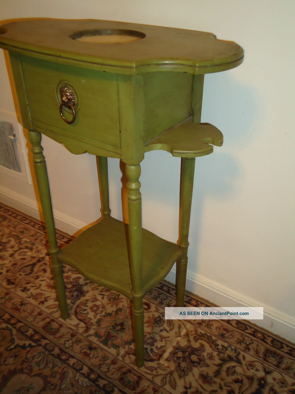 Marvelous photograph of  Wood End/side Table With Drawer Painted Plant Smoke Stand 1900 1950 with #64441B color and 1200x1600 pixels
